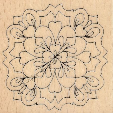 Plainly Hearts Medallion Wood Mounted Rubber Stamp